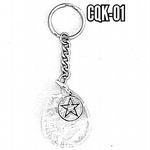 Clear Quartz & pentagram keyring
